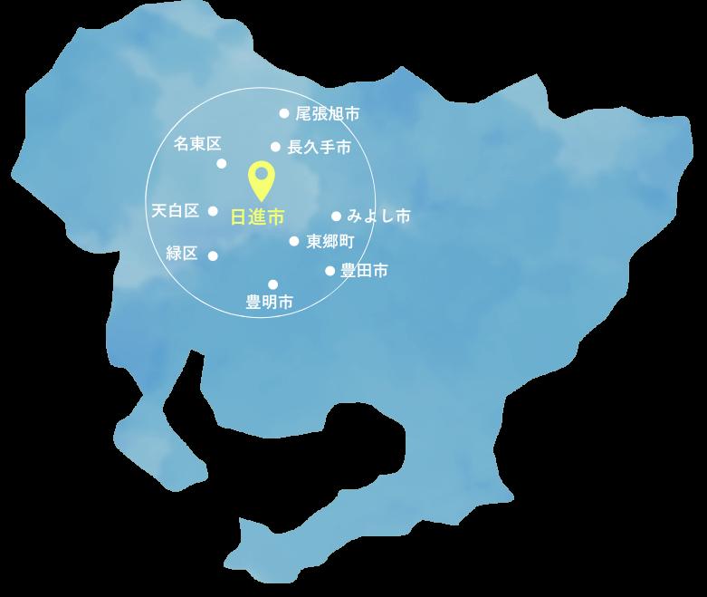 ワンダーホームの施工エリアの図
