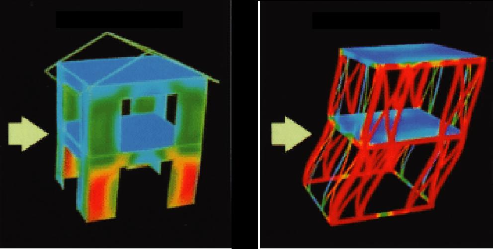 2×4住宅と在来鉄骨軸組工法の住宅の地震時の比較の画像