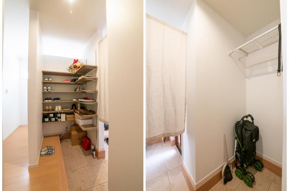 玄関横の土間収納、収納力も高く、ファミリー玄関としても利用できる優れものです。