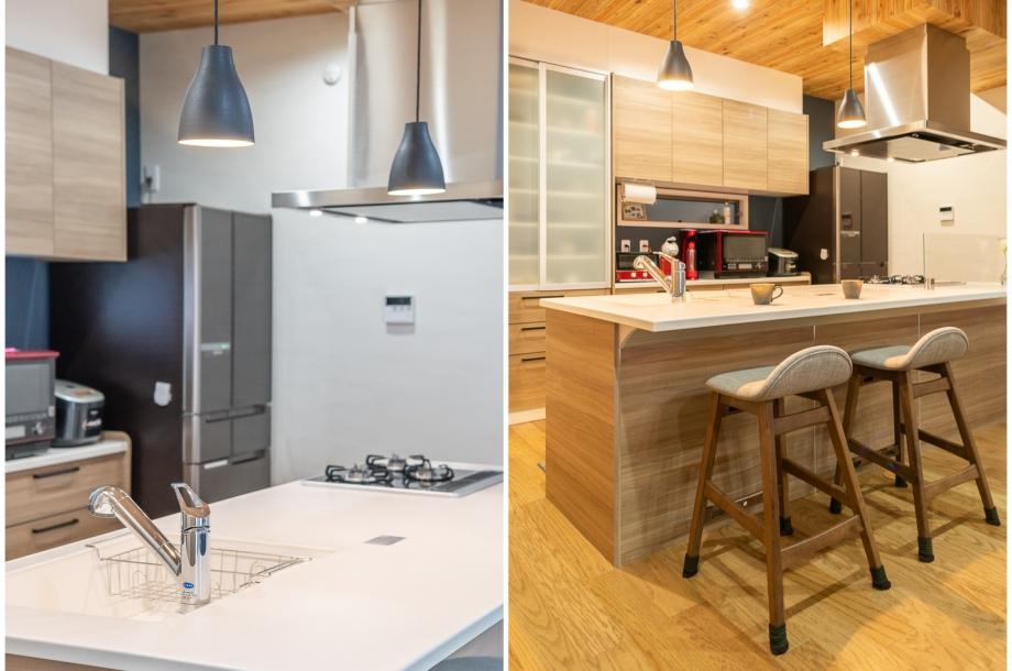 アイランドキッチンならではのオープンでコミュニケーションが自然と増える空間に。