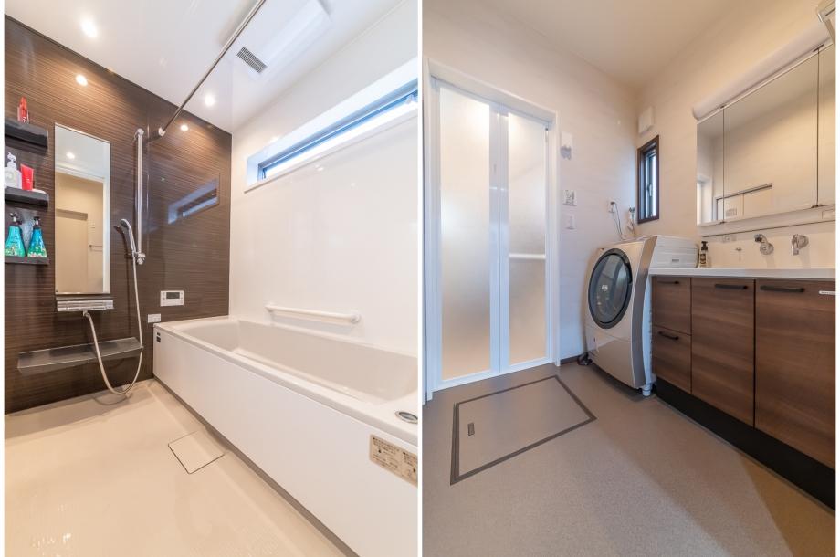 広々とした洗面室と浴室は、仕事の疲れを癒してくれる空間に。