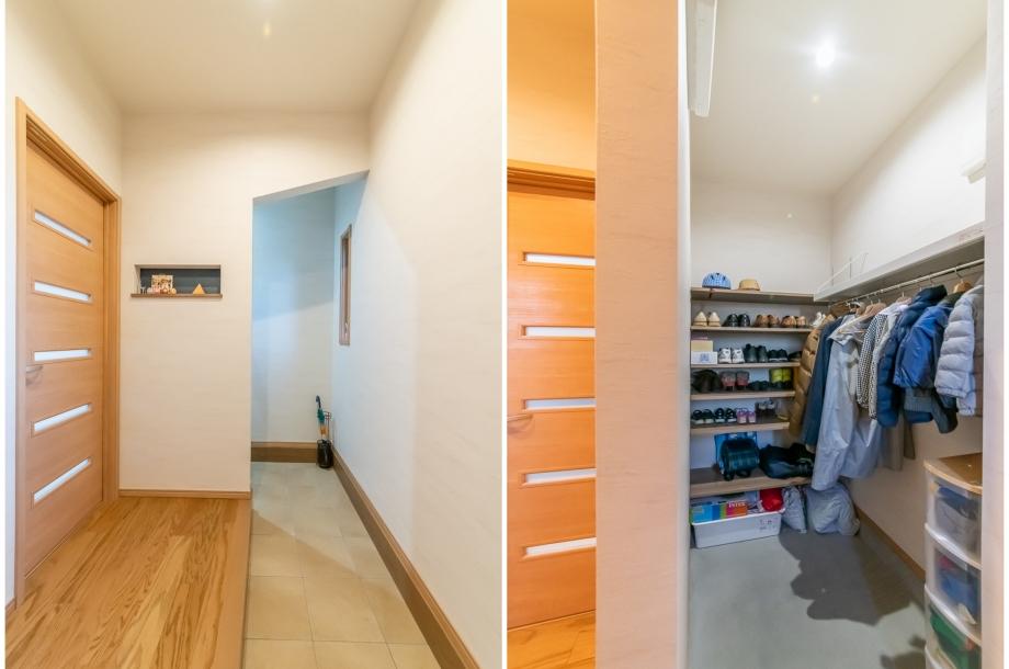 玄関の奥には土間収納があり、玄関はいつでもすっきりさせておくことが可能。