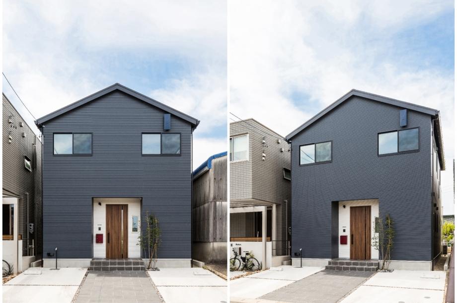 ネイビーを基調としながらも玄関部分だけを白と木目で強調することで良いアクセントになっています。