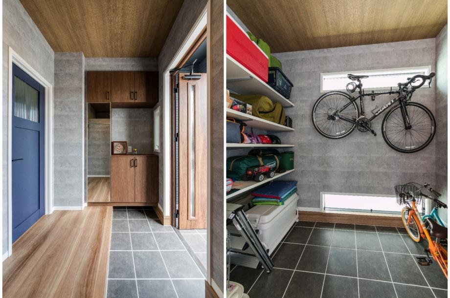 広々とした土間収納付きの玄関。収納部分にはロードバイクやアウトドア用品も収納してあります。