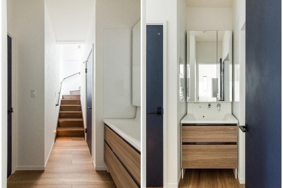 洗面室以外にも洗面化粧台があり、朝の忙しい時間にも家族全員がストレスなく準備ができそうです。