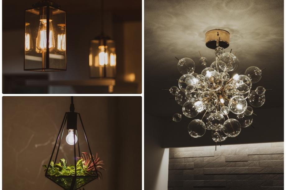 キッチンやリビングなど照明のひとつひとつにもお施主様のごだわりが。
