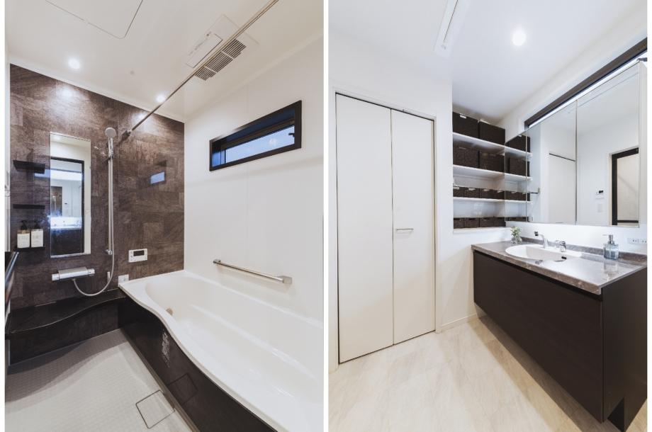 お風呂や洗面化粧台もグレーの石材系のデザインにすることでLDKとの統一感を出しています。