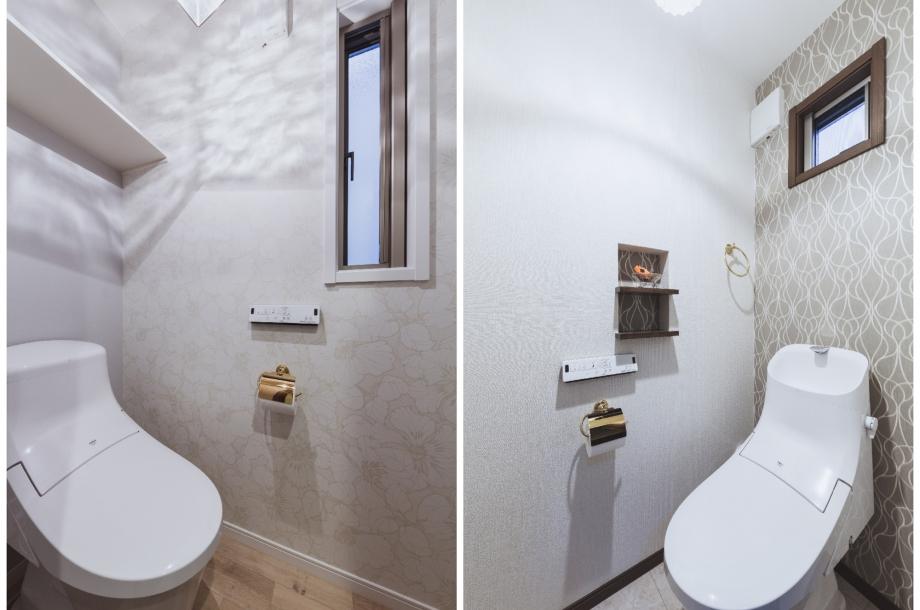 トイレの壁紙や小物にもこだわりが感じられますね。