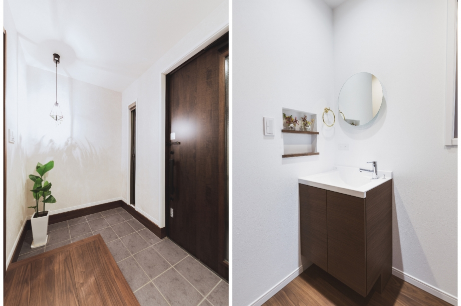 左:広々とした玄関スペース。 右:2階にあるミニ洗面化粧台