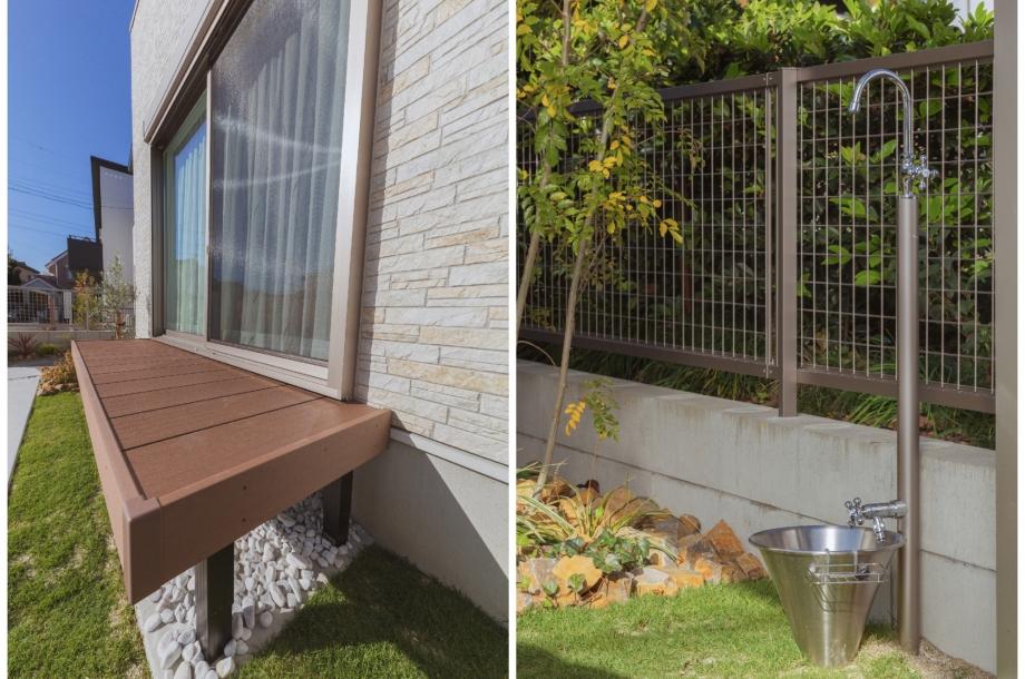 ウッドデッキとこだわりの立水栓。ミニ家庭菜園もあり省スペースながら緑のある生活が楽しめます。