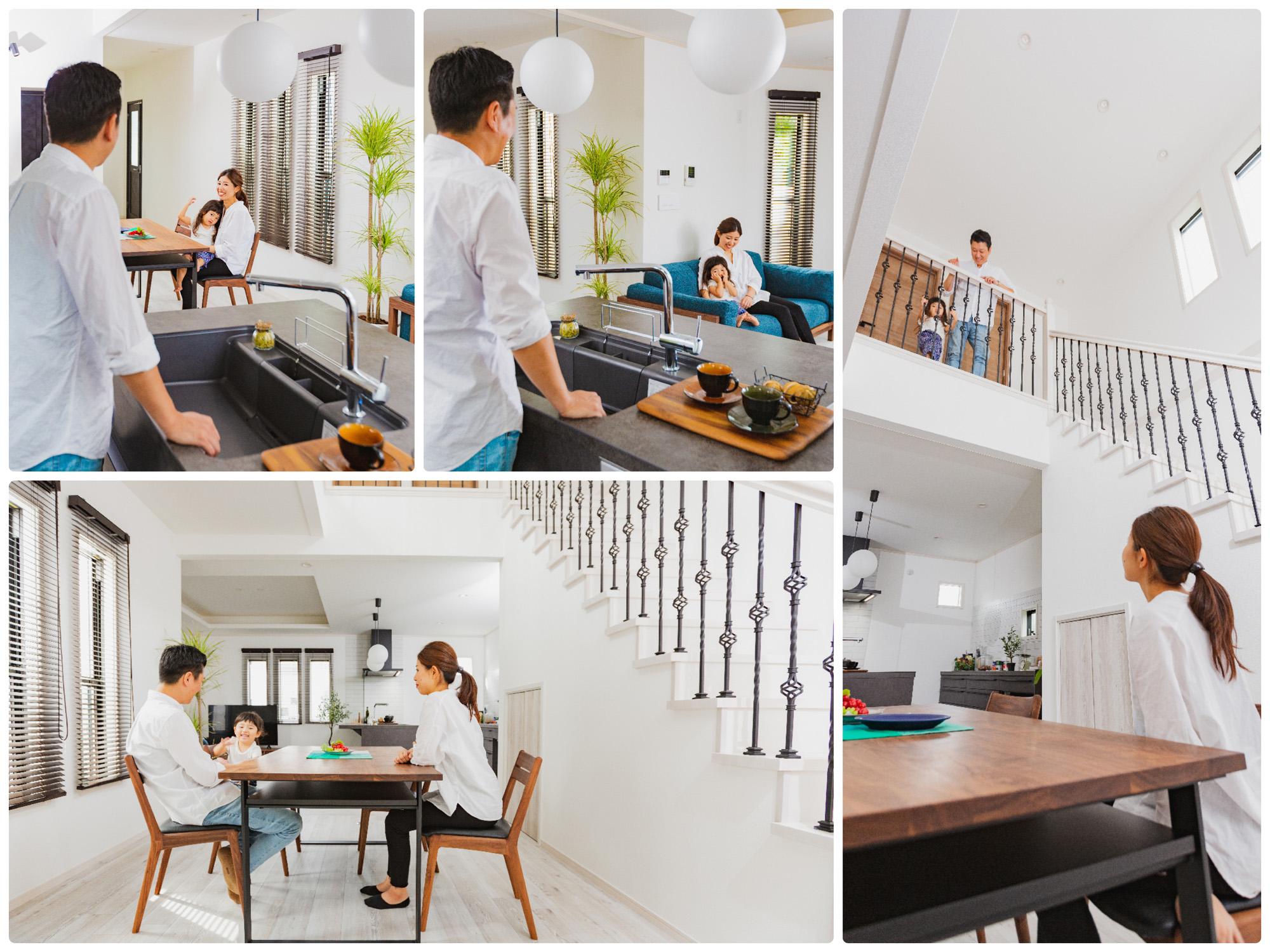 キッチンを中心にリビング、ダイニングの家族とも気軽にコミュニケーションが可能。大きな吹き抜けがあるので2階との繋がり感も◎。
